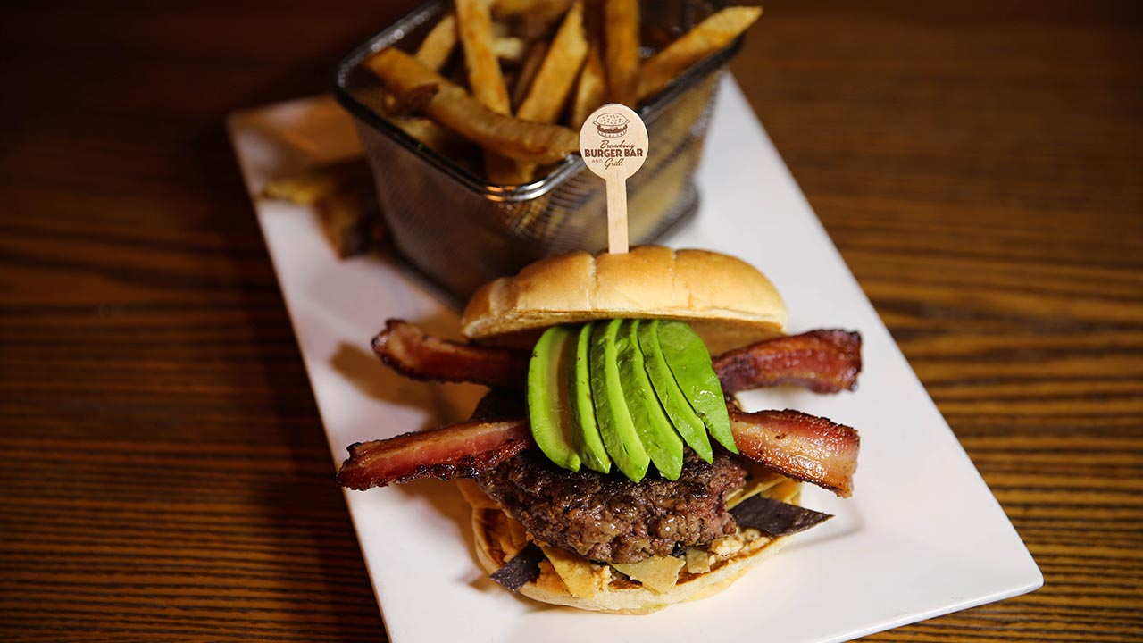 hamburger with bacon and avocado
